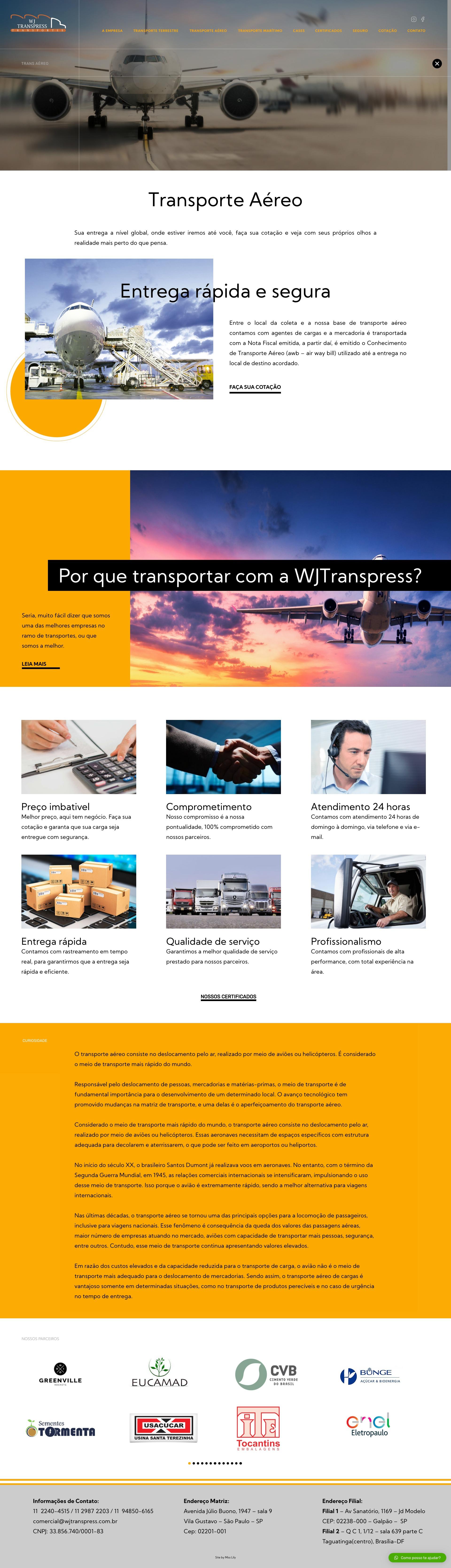 5- Transporte Aéreo - WJ Transpress - Transportadora