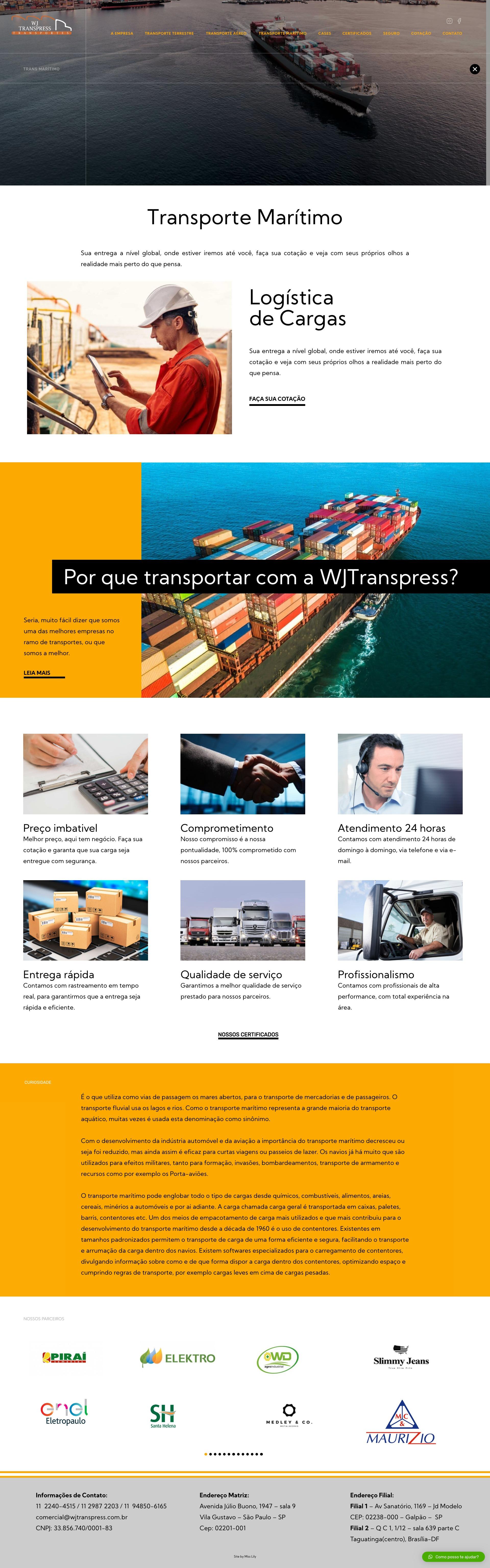 6- Transporte Marítimo - WJ Transpress - Transportadora