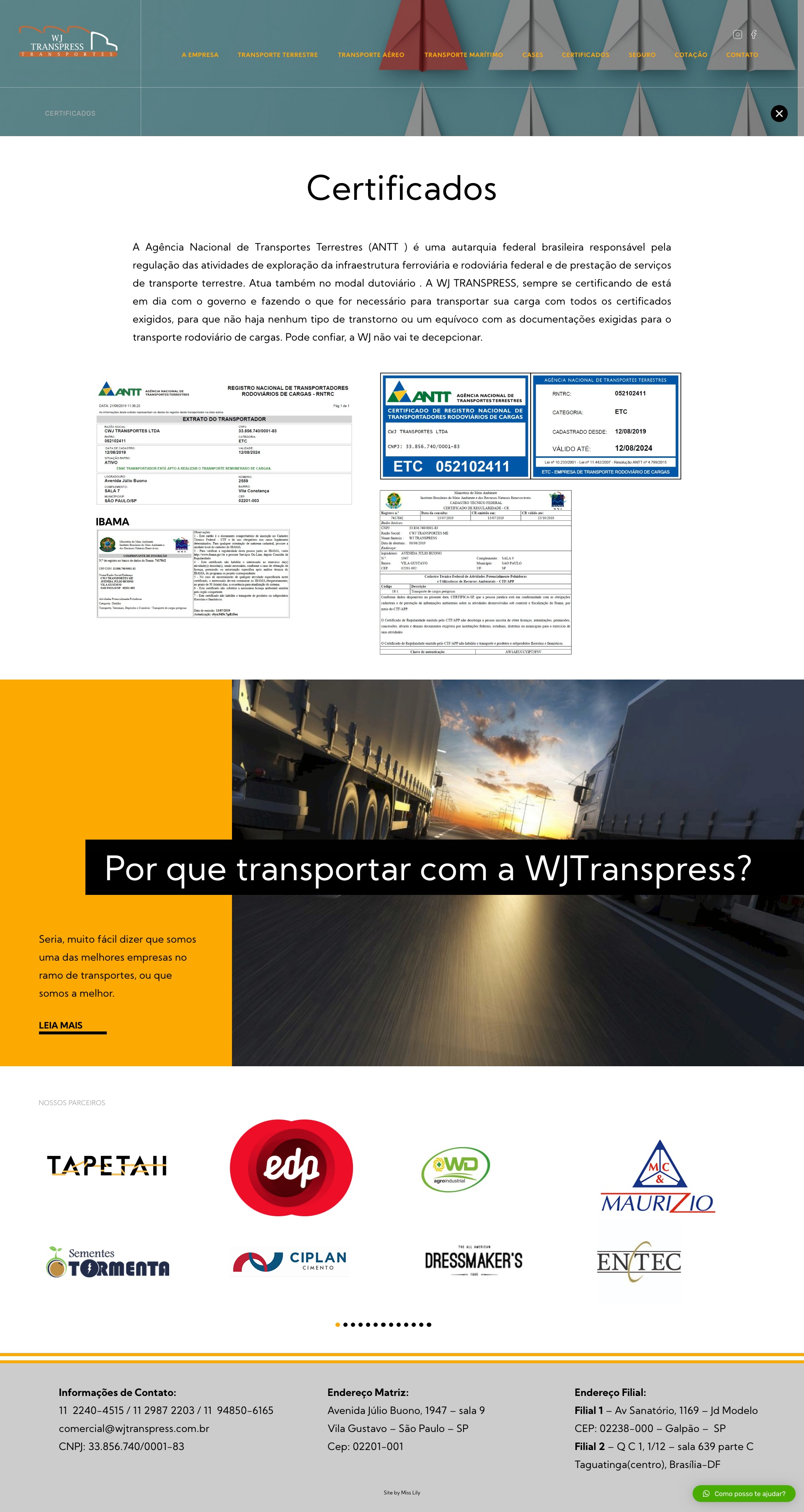 8- Certificados - WJ Transpress - Transportadora
